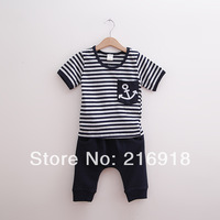Children's clothing summer casual male child set baby stripe short-sleeve T-shirt knee-length pants twinset