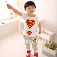 Children's clothing summer baby set child T-shirt short-sleeve knee-length pants super man twinset