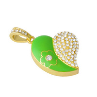 Wholesale and custom Crystal usb flash drive 2.0 memory card pen drives heart-shaped diamond color matching flowers