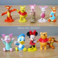 Cartoon Tigger Piglet Eeyore winnie Mickey Mouse Figure Doll Toy Baby Children toy 5cm Free Shipping  (10pcs/set)