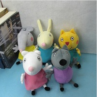 Sale! 5pcs/set NEW 2014 Peppa Pig Friends Plush Soft Toys Stuffed Anime Figure Dog Cat Rabbit Sheep Elephant Baby Toy Kids Gifts