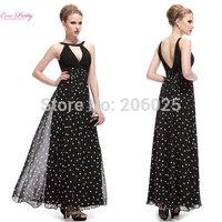HE08016BK     Free Shipping Padded Black & White Polka-Dotted Long Black Evening Dress