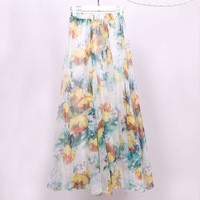2014 summer full print bohemia half-length dress half-length expansion bottom chiffon beach dress