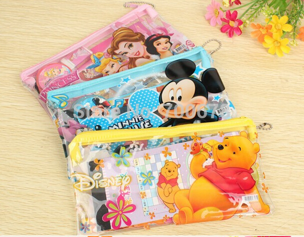 Free shipping 15 sets/pack korea cartoon stationery set 6pcs Princess/Minnie/Car/bear/kitty pencil eraser children's gift prize(China (Mainland))