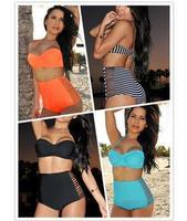 2014 New Fashion Women Swimwear Cut Out High Waist Retro Bikini Set P40659 Solid Color Side Slits Hot Sale Beach Biquini Bikini