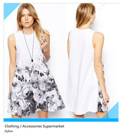 Free shipping fashion women's dresses 2014 spring and summer  Ink Print Tank Dress for women WQZ12702
