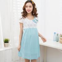 Maternity Clothing 2014 Summer Fashion Lace Chiffon One-Piece Dress Pregnant /Gravida Clothes/Top/T-shirt/Dress/Wear