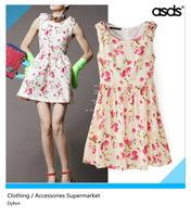 Free shipping fashion women's summer dresses European leg of bottoming dress sundress floral print dress WQZ12805