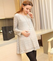 Long Sleeve Lace Casual Maternity Dress Plus Size Clothes For Pregnant Women Gestante Roupas Gravidas Clothing Spring&Autumn