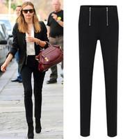 2014 Winter Women Skinny Pants High Stretch Pencil Pants Fashion Capris High Waist Trousers Double Zippers S-XXL QRP140410