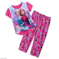 Free shipping 1 set baby girls summer Frozen pajamas /kids Anna Elsa nightgown/Frozen sleepwear/baby pajamas set/clothes set
