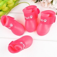2014 New Fashion 4pcs/sets Candy Colors DOG BOOTS Waterproof Protective Rubber Pet Rain Shoes Booties S M L#710 SV001059