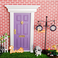 iland 1:12 Dolls Miniature Wood Painted Purple Exterior Door W/ Metal Accessories 30 PCS Wholesale