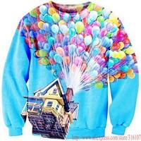 HOT!2014 Harajuku style Women Men Many colorful balloons print Pullover funny 3D Sweatshirts Hoodies jacket Galaxy sweaters Tops