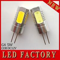 2X High lumens G4 COB LED bulbs lamps dc ac 12V 5W aluminum energy saving 360 degree replace halogen lights warm/cold white