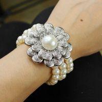 Rose Cut berg crystal Fashion three  layers of Pearl Bracelet for women  SL-090