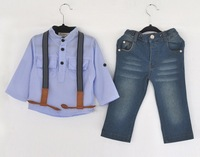 Retail 2014 Hot Children Handsome Clothing Sets Boys Summer Shirts+Denim Overalls For 2-6 Yrs Kids Fashion Gentleman Suits