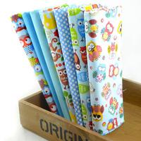 "2014 New Design""Cute Blue OWLS"" Cotton Fabric Fat Quarters Children Bedding Sets Sewing Cloth Quilting 7 pieces 45CMX50CM W3B3-6"