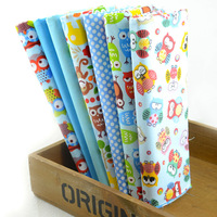"2014 New Design""Cute Blue OWLS"" Cotton Fabric Fat Quarters Children Bedding Sets Sewing Cloth Quilting 7 pieces 45CMX50CM W3B3-6"