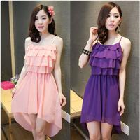 2014 New Women's chiffon spaghetti strap dress,plus size cascading chiffon dress,fashion Irregular dress