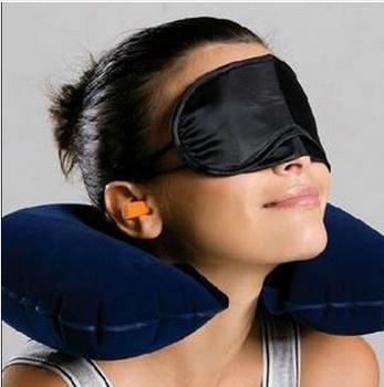 Travel Kit Set 3-In-1 Inflatable Neck Air Cushion Pillow + eye mask + 2 Ear Plug C