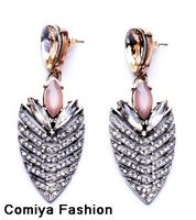 New Spring Summer 2014 wholesale Fashion big brand accessories pink crystal leaves boucle d'oreille drop earrings women bijoux