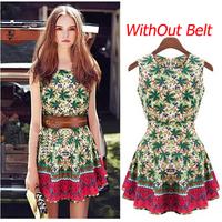 2014 Summer New Fashion Women Dresses Sleeveless Flower Print Brand Cute Dresses Without Belt O-Neck Female Dresses WD411122