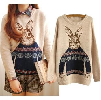 Новинка женская ретро зимние сгустите свитера кролик питер пуловеры свободного покроя трикотаж