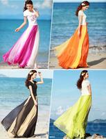 Free Shipping 2014 Women's Summer Autumn Patchwork Fashion Bohemia Beach Skirts Chiffon Long Women Skirt  AY850018