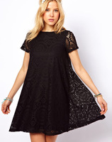 Free Shipping 2014  Women Dress Short Sleeve O-Neck Winter Black Red White Green Lace dress Casual Summer Sexy Mini Dress 850027
