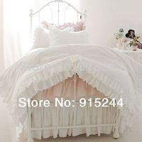 Bedding slanting 100% stripe cotton pure white pink princess bedding 4 piece set ruffle luxury duvet cover wedding bedding sweet