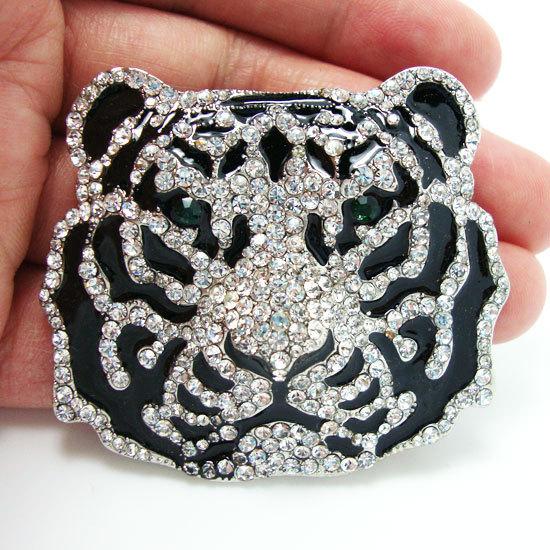 Vivid Art Fashion Silver Black Stripe Tiger Head Rhinestone Brooch Pendant(China (Mainland))