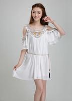 Women High Quality dress Luxury Dresses Club Party Night Ladies White Beading Chiffon Loose Short Mini Sexy dress AY850039