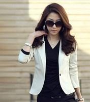 2014 New Autumn Women Solid Office Lady Long Sleeve Blazers Coat Notched Jacket Suit Outerwear, 5 Color, M, L, XL, XXL