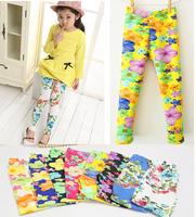 Hot-selling floral print children pants spring summer and autumn milk silk female child flower print legging trousers