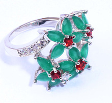Beautiful Elegant Wholesale Retail Jewelry Emerald Red Ruby Cubic Zirconia Silver Ring Size 6 6 25