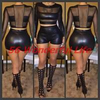 2014 new arrival 2 piece set bandage dress black sexy summer dress club dress short pants