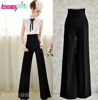 New 2014 summer casual fashion women knitting elasticity high waist women's pants wide leg trousers women clothing plus size xxl