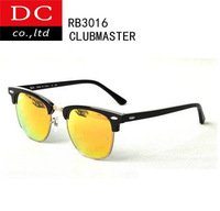 Mens Womens Designer brand ray 3016 Clubmaster Sunglasses Black Frame Orange Glass Lens RB Glasses High Quality