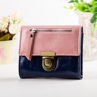 women wallets Color block patchwork nubuck Matt PU leather hasp change purses lock button credit card wallet coin Purse