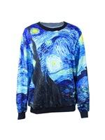 Van Gogh  Y-91 Space Starry Sky Print Long-sleeved Sweatshirt Free Shipping