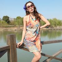 2014 New style  Saress Bikini Wrap Dress Women's Sarong Swim cover-ups Cross Beach dress Feather