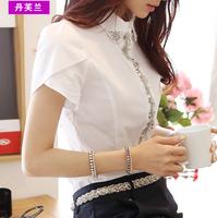 2015 spring Summer OL outfit chiffon Blouse women short-sleeve turn-down collar diamond puff sleeve slim Blouses size m-2xl 15