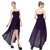 Free Shipping 08073 Sexy Strapless Elegant Purple Summer Prom tea length Evening Dress 2014