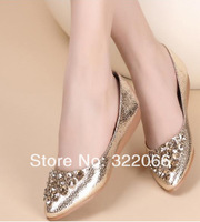 free shipping  2014 Summer models diamond crystal beaded flat shoes flat shoes women with a scoop of Korea pointed fashion shoes