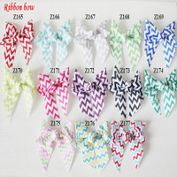 "Free Shipping 3"" chevron print ribbon hair bows, baby hair accessories 60pcs/lot (10 colors for selection)"