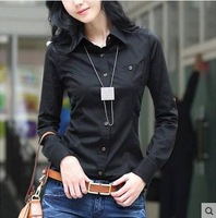 new fashion trend button body 2014 spring and autumn women work wear basic slim white and black long-sleeve cotton blouse shirt