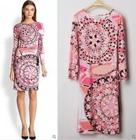 New 2014 Italian Luxury Brands Women's Pink Print Long Sleeves Print Plus Size XXL Stretch Jersey Silk Dress(with belt)