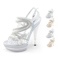 SHOEZY Designer Unique 2014  Ladies Silver Gold Glitter Rhinestone Wedding Evening Party Dress Comfort Platform High Heels Shoes