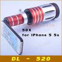 50x Degree optical zoom lens Telescope camera for iPhone lens for iPhone 5 5s mobile phone lens with tripod / case,1 pcs